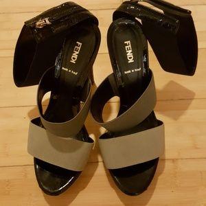 Fendi Suede Leather Wicker High Heels